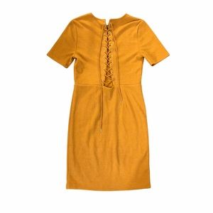 Light Brown Mustard Yellow Mini Bodycon Dress with Lace Up Front Sz M
